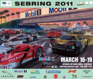 Roger Warrick's artwork as used by Sebring in 2011.  2014 marks his 10th year of producing the official Sebring artwork.