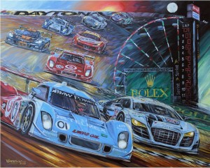 Roger Warrick's painting of last year's Rolex 24 winning car, which he will do again this year at the track during the race.