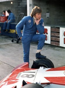 A pensive Derek Bell thinking about the upcoming session at the Canadian Grand Prix at Mosport in 1974.  [photo by Jack Webster]