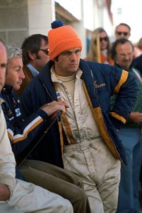 Peter Revson in the pits at the Canadian Grand Prix at Mosport in 1973.  [photo by Jack Webster]