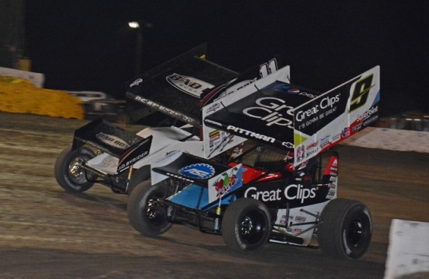 Daryn Pittman battles Steve Kinser at Volusia Speedway Park.  [Joe Jennings Photo]