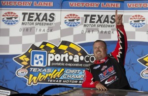 Morgan Bagley celebrates after winning the Port-A-Cool¨ Texas World Dirt Track Championships in the SUPR Late Model series in Fort Worth, Texas. (Photo by Cooper Neill/Getty Images for Texas Motor Speedway)