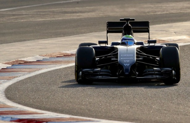 Felipe Massa takes a corner in the final pre-season session Sunday at the Bahrain International Circuit. The season begins in less than two weeks in Australia. [Photo by Getty Images]
