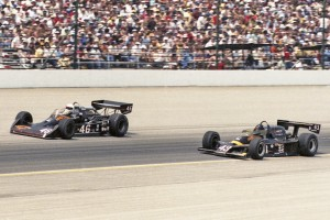 Gary Bettenhausen (#46) races teammate Tom Bigelow (#43) at Indianapolis in 1980.  [Russ Lake Photo]