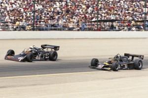 Gary Bettenhausen (#46) races teammate Tom Bigelow (#43) at Indianapolis in 1980.  [Russ Lake Photo]