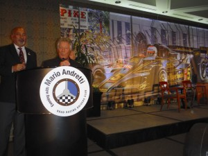 Mario Andretti and Bobby Rahal at the RRDC Diner for Mario.  [Eddie LePine photo]