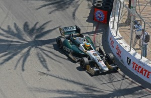 Winner Mike Conway races through the palm tree shadows en route to victory.  [Joe Jennings Photo]