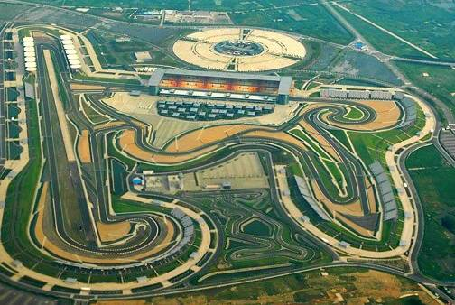 The three and a half mile track at Shanghai in one of the newest F1 circuits, known for it's pollution and its changing surfaces. [Photo by f1ed.com]