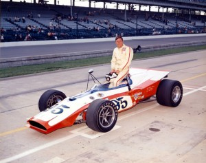 Bentley Warren poses with his 1971 Indianapolis 500 car, the Classic Wax Special Eagle-Offy  [photo courtesy of the Indianapolis Motor Speedway]
