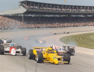Sometimes you get lucky.  In 1987 on the first lap, Josele Garza (#55) narrowly missed eventual winner Al Unser, Sr. (#25) as he spun on the first lap, eventually contacting Pancho Carter, however both were able to continue.   [Photo courtesy of the Indianapolis Motor Speedway]