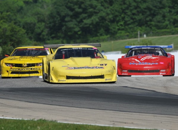 Doug Peterson leads the pack in his Chevrolet Corvette.  [John Wiedemann Photo]