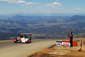 Romain Dumas crosses the finish line at the top of Pikes Peak.  [Photo by: Romain Dumas Rallye Team]