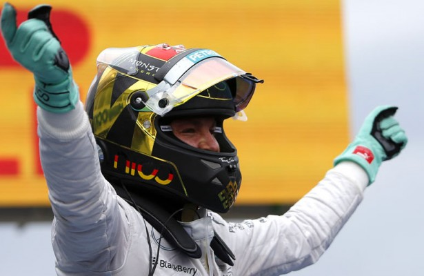 Nico Rosberg celebrates his home win Sunday at the German Grand Prix at Hockenheim. Rosberg now has a 14 point lead in the world championship. [Photo by Sutton Images]