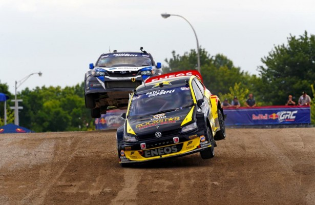 Tanner Foust wins the Red Bull Global Rallycross Volkswagen Rallycross  NY.  [photo courtesy Red Bull Global Rallycross]