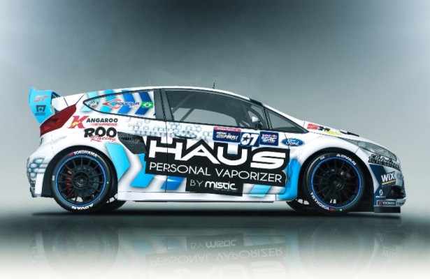 The No. 07 HAUS Personal Vaporizer Ford Fiesta ST of SH Rallycross will be driven by Nelson Piquet Jr. during the Charlotte round of the 2014 Red Bull Global Rallycross season.  [courtesy SH Rallycross]