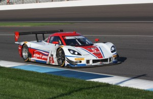 Joao Barbosa drove the Corvette to the win at Indianapolis.  [Mark Walczak Photo]