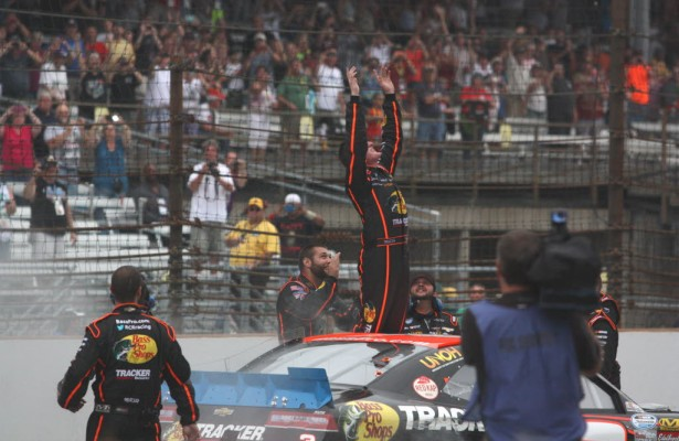 Ty Dillon celebrates on the yard of bricks after winning his first Nationwide Series race.  [Mark Walczak Photo]