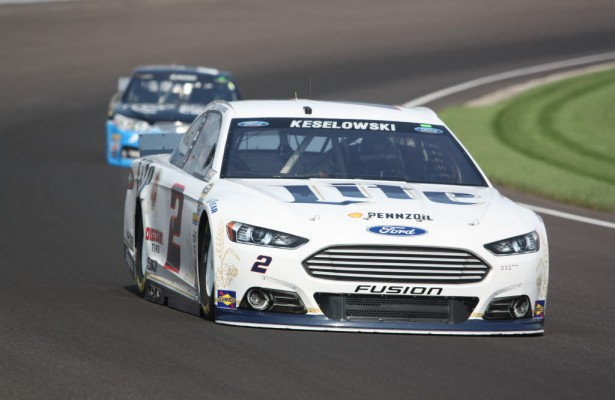 Brad Keselowski was quick in both practice sessions, 3rd on Friday and 2nd on Saturday at the Speedway.  [Mark Walczak Photo]