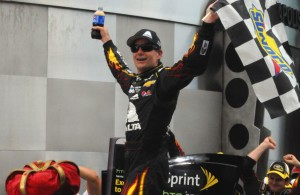 Jeff Gordon celebrates in victory lane at Indianapolis with his 5th Brickyard 400 win.  [Father Dale Grubba photo]
