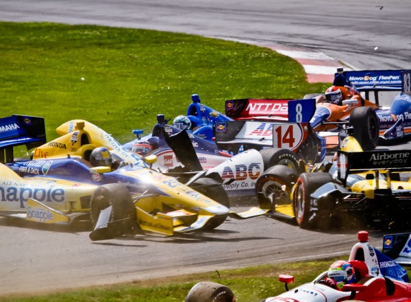 An opening lap wreck that took Tony Kanaan and Marco Andretti out of the race.  [Andy Clary Photo]