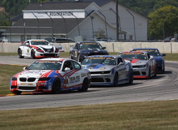 Trent Hindman leads Andy Lally, Ryan Liddell and Lawson Aschenbach through turn 14 at Road America.  [Mark Walczak Photo]