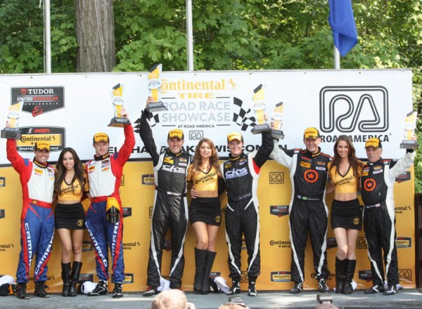 The Continental Tire SportsCar Challenge podium at Road America.  [Mark Walczak Photo]
