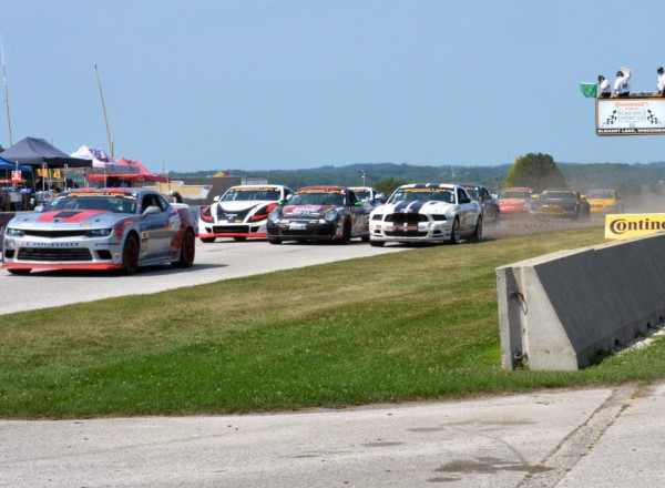 Tight racing during a restart late in the race at Road America.  [Russ Lake Photo]