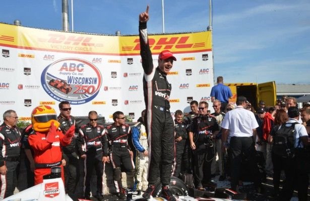 Will Power celebrates in AJ Foyt Victory Lane after winning the ABC Supply Company Wisconsin 250 IndyCar Series race.  [Russ Lake Photo]