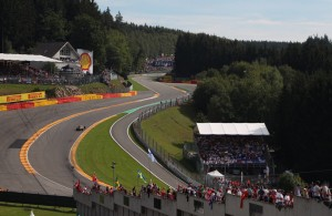 One of the most famous corners at Spa-Franchorchamps is Eau Rouge, which will give the new V-6 turbos a challenge this weekend.  [Photo courtesy of Red Bull]