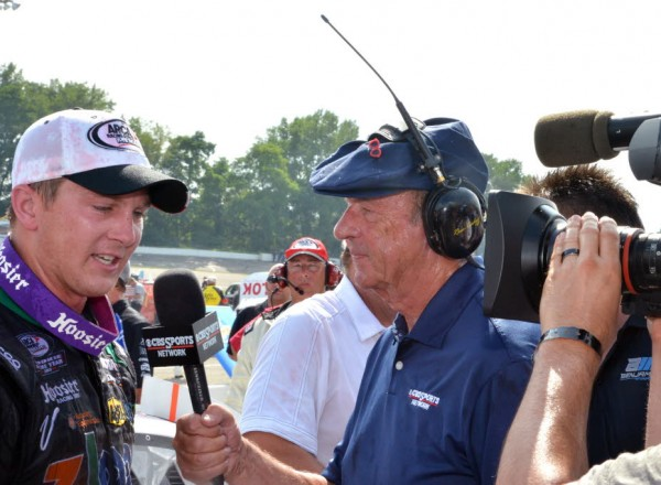ARCA winner Justin Boston interviewed by Dr. Dick Bergren of CBS Sports Network.  [Russ Lake Photo]