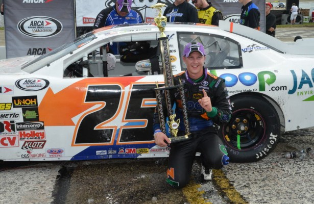 ARCA winner Justin Boston in victory lane at Madison International Speedway.  [Russ Lake Photo]