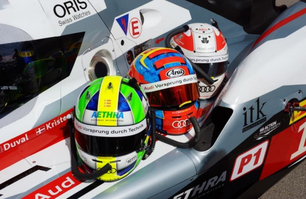 Di Grassi, Duval and Kristensen helmets on the #1 Audi R18 await tech inspection at the Circuit of the Americas on Wednesday.  [Photo by Jack Webster]