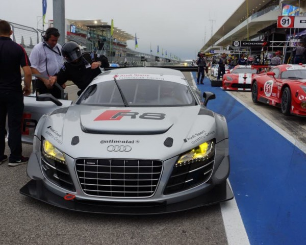 The author entering the Audi R8 GT for a ride around the Circuit of the Americas.  [Photo by Eddie LePine]