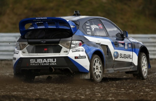 Sverre Isachsen scored the first victory for Subaru in the Red Bull Global RallyCross series at DirtFish Rally School in Seattle, WA.  [Alison Padron / Red Bull Content Pool]