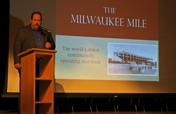 Steve Zautke makes his presentation about the Milwaukee Mile.  [Joe Jennings Photo]