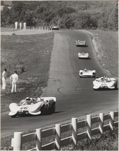 This Dave Arnold photo is typical of the interesting photos in the USRRC book. Here we see the Chaparrals of Jim Hall and Hap Sharp lead the field at Mid-Ohio in 1965.