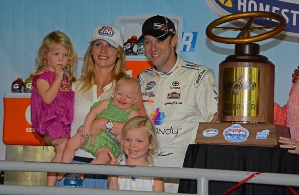 Matt and Katie Kenseth and their daughters enjoy victory lane.  [Joe Jennings Photo]