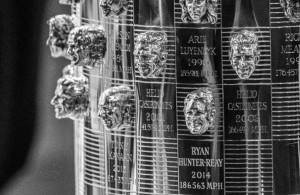 Ryan Hunter-Reay's likeness is added to the Borg-Warner Trophy for winning the Indy 500.  [Andy Clary Photo]