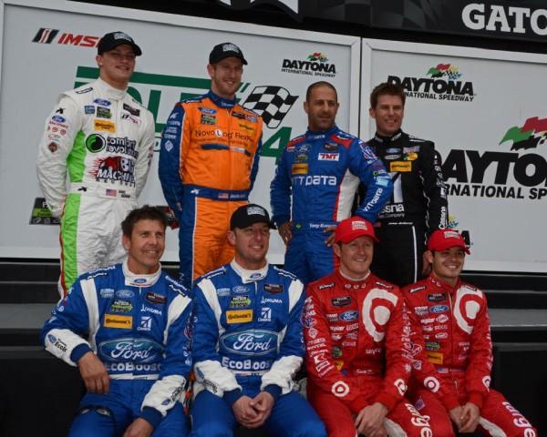 Chip  Ganassi Racing's eight drivers.  Front row – Scott Pruett, Joey Hand, Scott Dixon and Kyle Larson.  Back row – Sage Karam, Charlie Kimball, Tony Kanaan and Jamie Mc Murray.  [Joe Jennings Photo]