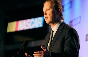 Brian France, CEO and chairman of NASCAR, speaks with the media during the NASCAR Sprint Media Tour at the Charlotte Convention Center.  [Credit: Jared C. Tilton/NASCAR via Getty Images]
