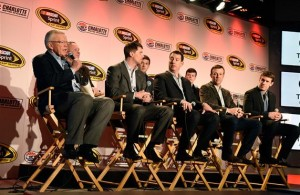 Joe Gibbs (left), owner of Joe Gibbs Racing, speaks with the media during the NASCAR Sprint Media Tour at the Charlotte Convention Center.  [Credit: Jared C. Tilton/NASCAR via Getty Images]