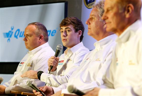 Sitting with the Wood Brothers Racing team, driver Ryan Blaney talks about the 2015 season during day 3 of the Charlotte Motor Speedway NASCAR Media Tour.  [Credit: Bob Leverone/NASCAR via Getty Images]