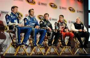 (R-L)Rick Hendrick, Jeff Gordon, Kasey Kahne and Jimmie Johnson look on as Dale Earnhardt Jr. speaks with the media during day 4 of the Charlotte Motor Speedway NASCAR Media Tour.  [Credit: Jared C. Tilton/NASCAR via Getty Images]