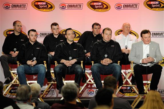 (L-R, back row) Brian Scott, driver of the #2 Chevrolet, Ty Dillon, driver of the #3 Chevrolet, Brendan Gaughan, (front row)Austin Dillon, driver of the #3 Chevrolet, Paul Menard, driver of the #27 Chevrolet, Ryan Newman, driver of the #31 Chevrolet, and Richard Childress, owner of Richard Childress Racing, look on during day 4 of the Charlotte Motor Speedway NASCAR Media Tour.  [Credit: Jared C. Tilton/NASCAR via Getty Images]