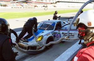 Dempsey/Wright Motorsports making their late pit stop in the Rolex 24 at Daytona.  [Eddie LePine photo]