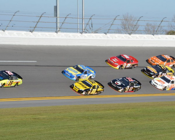 Early race action in the ARCA Series opener at Daytona.  [Russ Lake Photo]