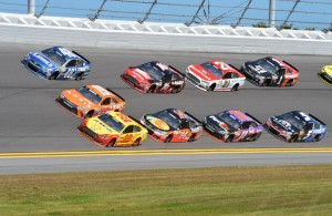 Joey Logano (22), Carl Edwards (19) and Jimmie Johnson (48) in front of the pack at Daytona.  [Russ Lake Photo]