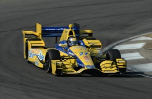 Marco Andretti shows off his new Honda aero kit during IndyCar Series pre-season testing.  [Photo by Chris Owens]