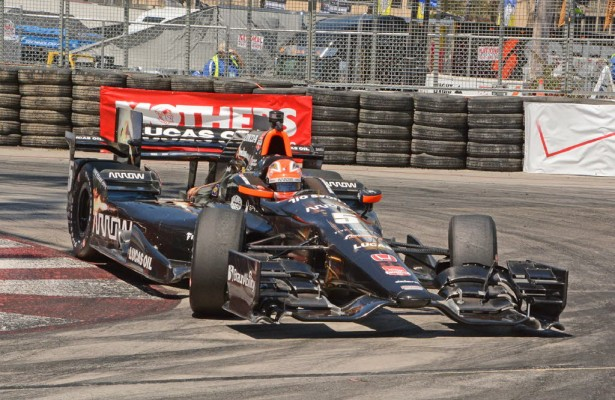 James Hinchcliffe shown maneuvering through tight hairpin turn in Long Beach. [Joe Jennings Photo]