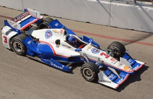 Toyota Grand Prix of Long Beach fast qualifier Helio Castroneves glides through turn 3. [Joe Jennings Photo]